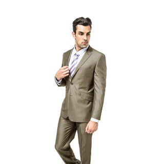 Verno Men's Brown Viscose Slim-fit Two-piece Suit