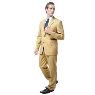 Verno Men's Tan Slim-fit Two-piece Suit