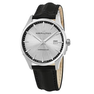 Hamilton Men's H32451751 'Jazzmaster' Silver Dial Black Leather Strap Swiss Quartz Watch