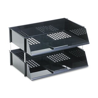 deflecto Industrial Stacking Tray Set Two Tier Plastic Black