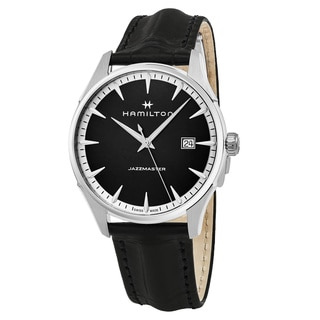 Hamilton Men's H32451731 'Jazzmaster' Black Dial Black Leather Strap Swiss Quartz Watch