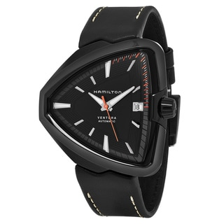 Link to Hamilton Men's  'Ventura' Black Dial Black Leather Strap Swiss Automatic Watch Similar Items in Men's Watches