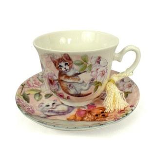 Pink Kittens Porcelain Tea Cup and Saucer Set with Keepsake Box