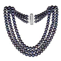"""DaVonna Sterling Silver Graduated 4-8.5mm Black Freshwater Pearl 3-rows Choker Necklace, 16"""""""