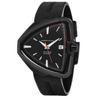 Hamilton Men's H24585331 'Ventura' Black Dial Black Rubber Strap Swiss Automatic Watch
