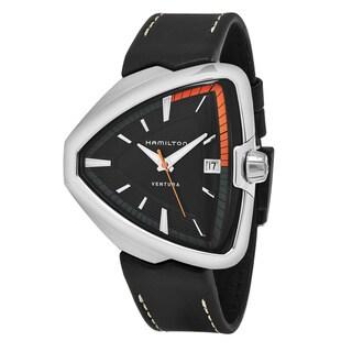 Hamilton Men's H24551731 'Ventura' Black Dial Black Leather Strap Swiss Quartz Watch
