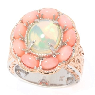 Michael Valitutti Palladium Silver Ethiopian Opal and Pink Bamboo Coral Flower Ring
