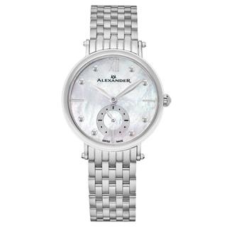Alexander Women's Swiss Made 'Roxana' Stainless Steel Link Bracelet Watch