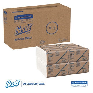 Scott Multi-Fold Paper Towels 9 2/5 x 9 1/5 White 250 Sheets 16/Carton