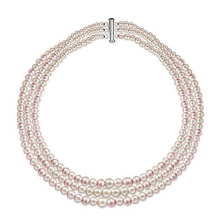 DaVonna Sterling Silver Graduated 4-8.5mm Pink Freshwater Pearl 3-rows Choker Necklace, 16""
