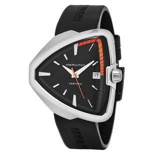 Hamilton Men's H24551331 'Ventura' Black Dial Black Rubber Strap Swiss Quartz Watch