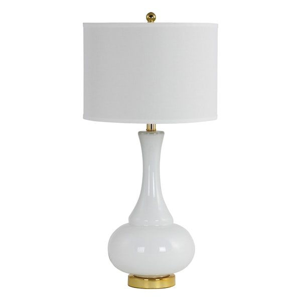 Adaliz White Glass and White Linen Hardback Shade Table Lamp