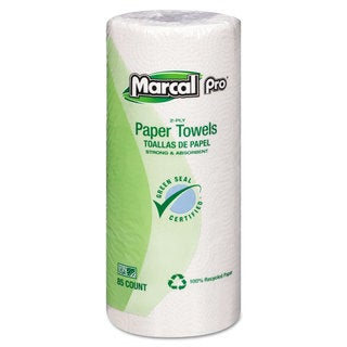 Marcal Perforated Kitchen Towels White 2-Ply 9-inchx11-inch 85 Sheets/Roll 30 Rolls/Carton