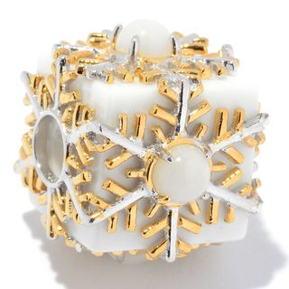 Michael Valitutti Palladium Silver White Agate & Bamboo Coral Snowflake Slide-on Charm
