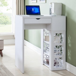 Furniture of America Hally Contemporary White Standing Desk/Bar Table