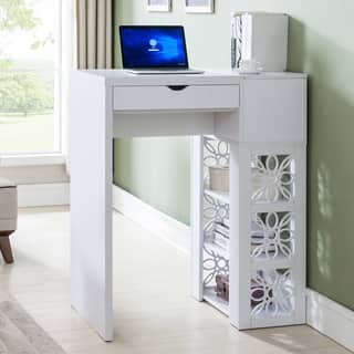 Furniture Of America Hally Contemporary White Standing Desk Bar Table