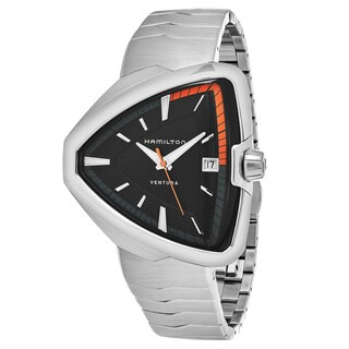 Hamilton Men's H24551131 'Ventura' Black Dial Stainless Steel Swiss Quartz Watch