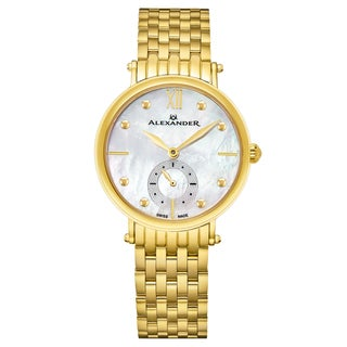 Alexander Women's Swiss Made 'Roxana' Gold Tone Stainless Steel Link Braclet Watch