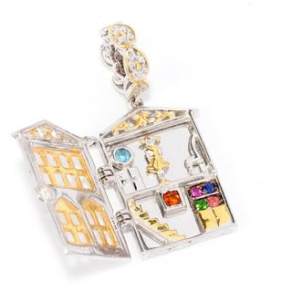 Michael Valitutti Palladium Silver Multi Gemstone Hinged Dollhouse Drop Charm