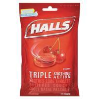 HALLS Triple Action Cough Drops Cherry 30/Bag