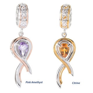 Michael Valitutti Palladium Silver Pear Shaped Gemstone Ribbon of Hope Drop Charm