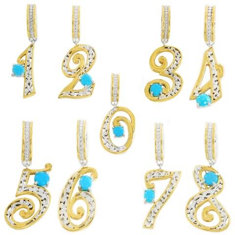Michael Valitutti Palladium Silver Sleeping Beauty Turquoise Number Charm