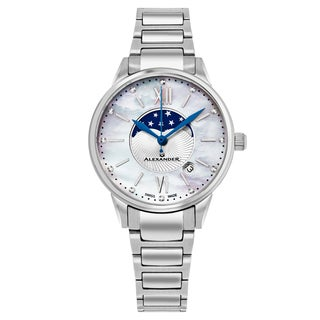 Alexander Women's Swiss Made Moonphase Vassilis Stainless Steel Link Bracelet Watch