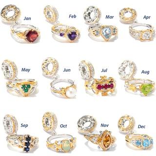 Michael Valitutti Palladium Silver Birthstone Ring Drop Charm