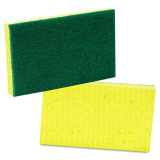 Scotch-Brite PROFESSIONAL Medium-Duty Scrubbing Sponge 3 1/2 x 6 1/4 Yellow with Green 20/Carton