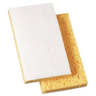 Boardwalk Scrubbing Sponge 3 3/5-inch x 6 1/10-inch 7/10-inch Thick Yellow with White 20/Carton