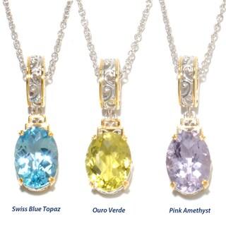 Michael Valitutti Palladium Silver Checkerboard Cut Gemstone Charm Necklace