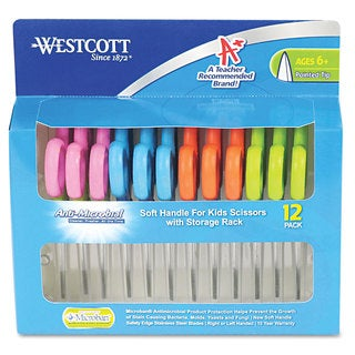 Westcott Kids Soft Handle Scissors with Antimicrobial Protection 12/Pack 5-inch Ptd
