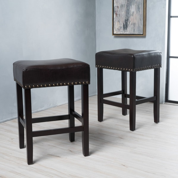 Shop Lisette 26 Inch Bonded Leather Backless Counter Stool
