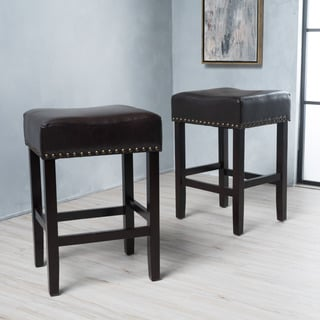 Lisette Bonded Leather Backless Counter Stool (Set of 2) by Christopher Knight Home