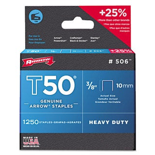 Arrow T50 Heavy Duty Staples 3/8 inches Leg 1250/Pack