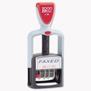 2000 PLUS Two-Color Word Dater 1 3/4 x 1 inchesFaxed, inches Self-Inking Blue/Red