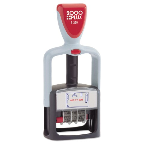 2000 PLUS Two-Color Word Dater 1 3/4 x 1 inchesPaid, inches Self-Inking Blue/Red
