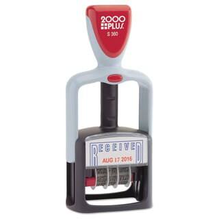 """2000 PLUS Two-Color Word Dater 1 3/4 x 1 -""""Received"""" Self-Inking Blue/Red"""