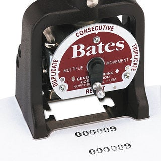 Bates Multiple Movement Numbering Machine Seven Wheels Re-Inkable Size E Black