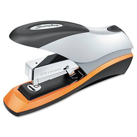 Swingline Optima 70 Desktop Stapler, 70-Sheet Capacity, Silver/Black/Orange