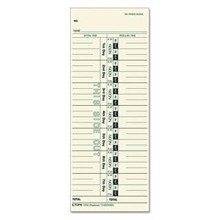 TOPS Acroprint/Cincinnati/Lathem/Simplex/Stromberg Time Card 3 1/2 x 9 500/Box