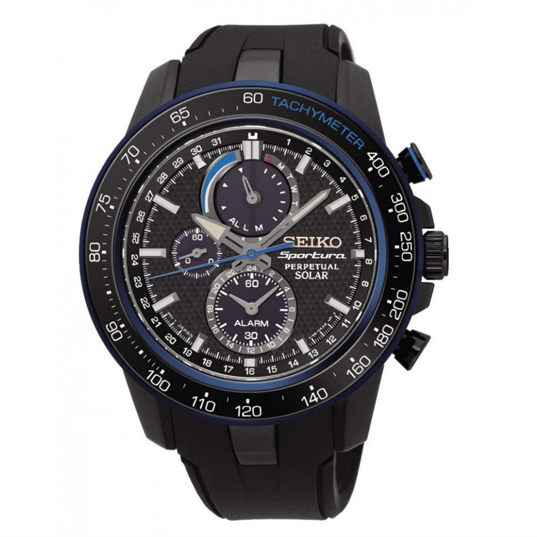 Seiko Sportura SSC429P1 Men's Black Dial Watch (Black), S...