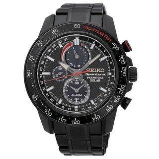 Seiko Sportura SSC427P1 Men's Black Dial Watch