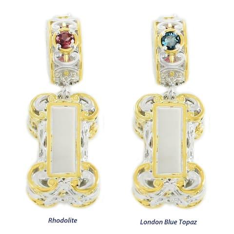 Michael Valitutti Palladium Silver Dog Bone Bell Charm with Rhodolite/London Blue Topaz