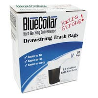 BlueCollar Drawstring Trash Bags 13gal 0.8mil 24 x 28 White 80/Box