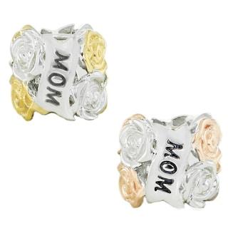 Michael Valitutti Palladium Silver MOM Yellow/Rose Flower Charm