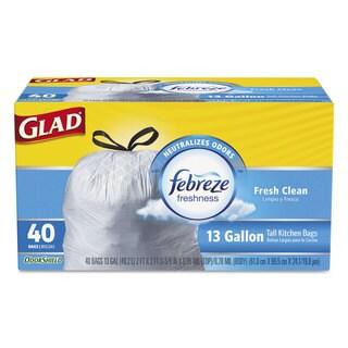Glad OdorShield Kitchen Drawstring Bags Fresh Clean 13 gal White 40/Box 6 Box/Carton