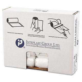 Inteplast Group High-Density Can Liner 24 x 24 10gal 8mic Clear 50/Roll 20 Rolls/Carton