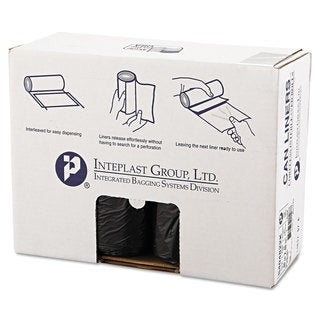 Inteplast Group High-Density Can Liner 40 x 48 45gal 22mic Black 25/Roll 6 Rolls/Carton