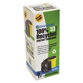 Stout Recycled Plastic Trash Bags 33 gal 1.3 mil 33 x 40 Brown/Black 180/Carton